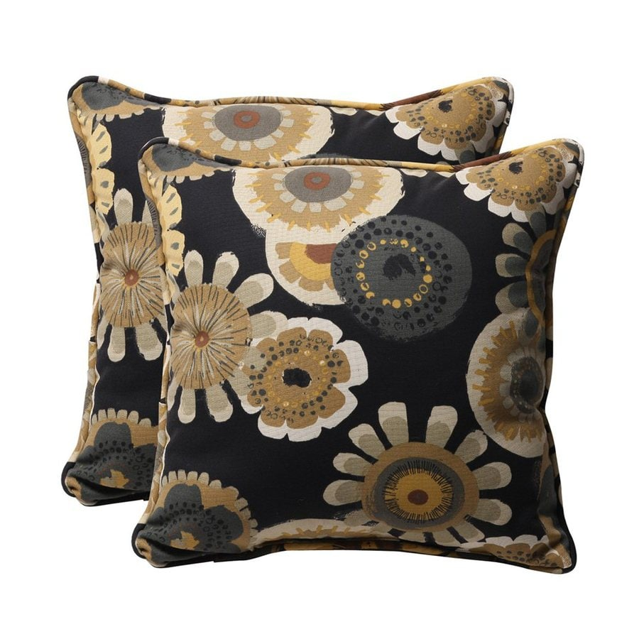 Shop Pillow Perfect Crosby 2-Pack Black Floral Square Outdoor Decorative Pillow at Lowes.com