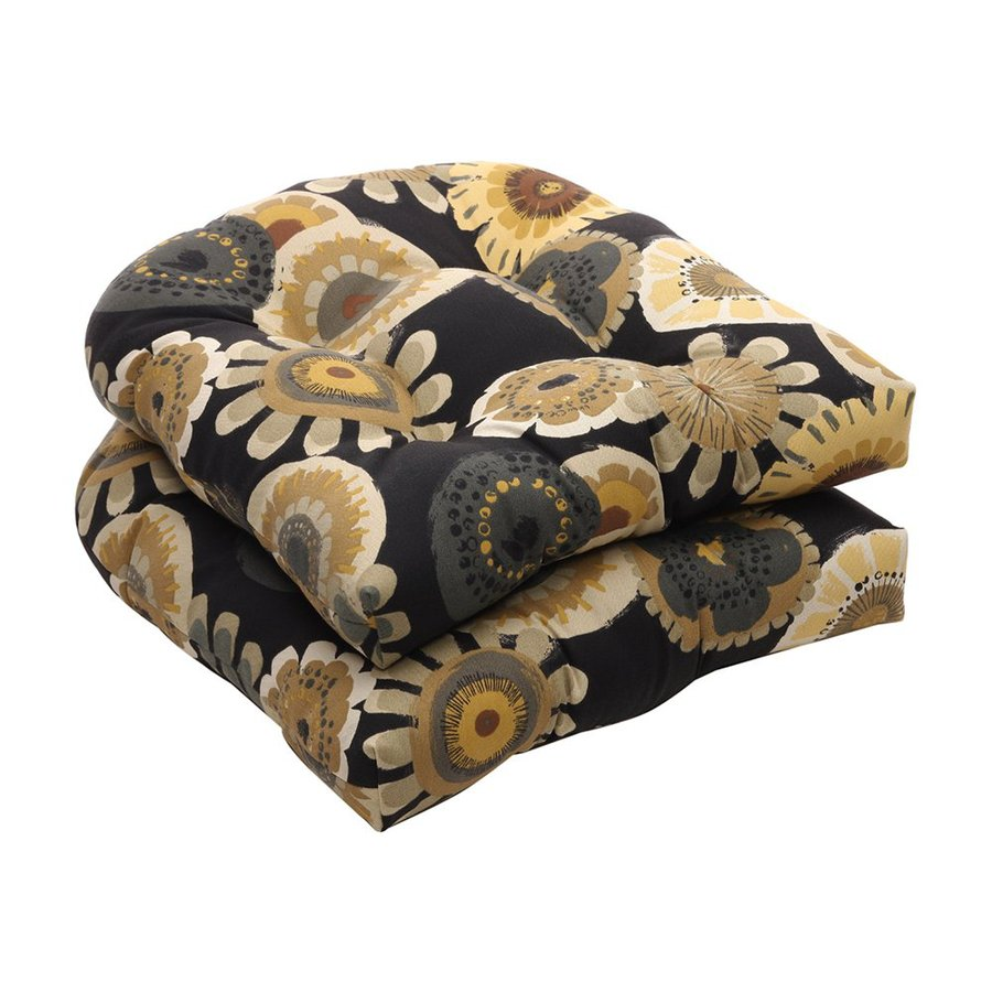 Pillow Perfect Floral Black/Yellow Universal Seat Pad