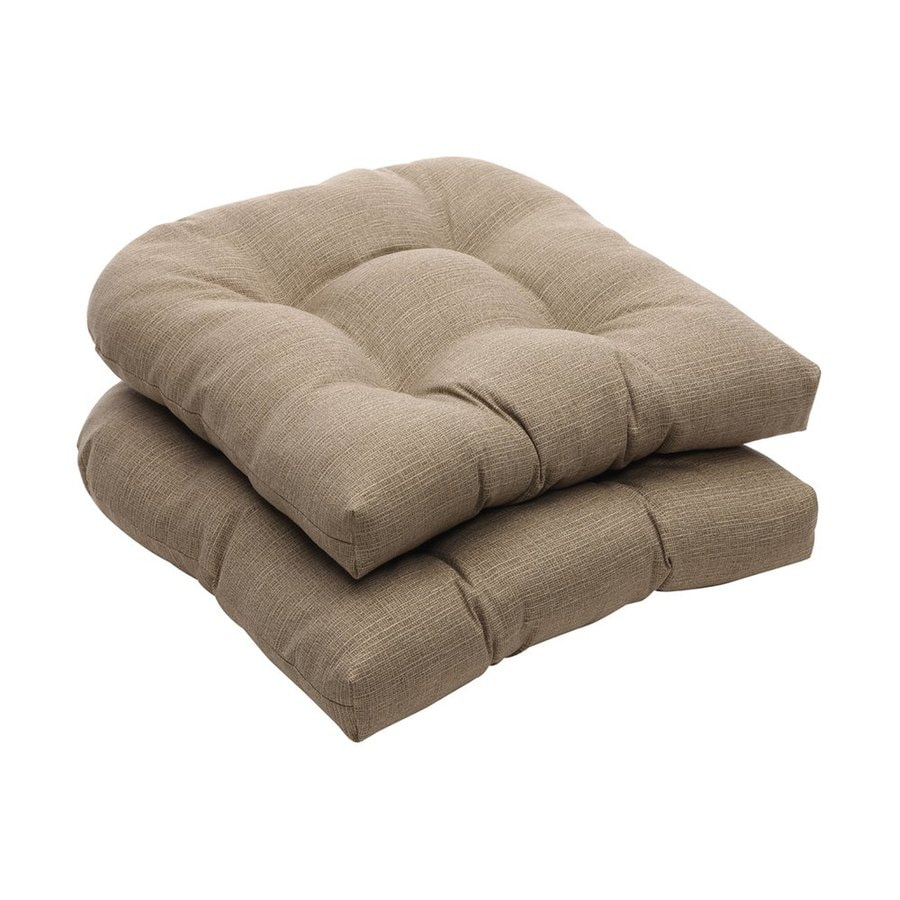 Pillow Perfect Rectangle Solid Taupe Sunbrella Seat Pad
