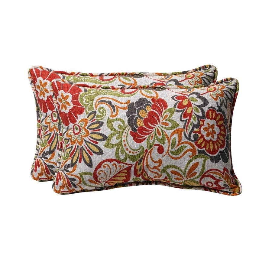 Shop Pillow Perfect Floral 2-Pack Red Floral Rectangular Outdoor Decorative Pillow at Lowes.com