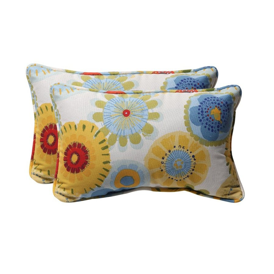 Decorative Pillow Covers Lowes : Shop Pillow Perfect Crosby 2-Pack White Floral Rectangular Outdoor Decorative Pillow at Lowes.com
