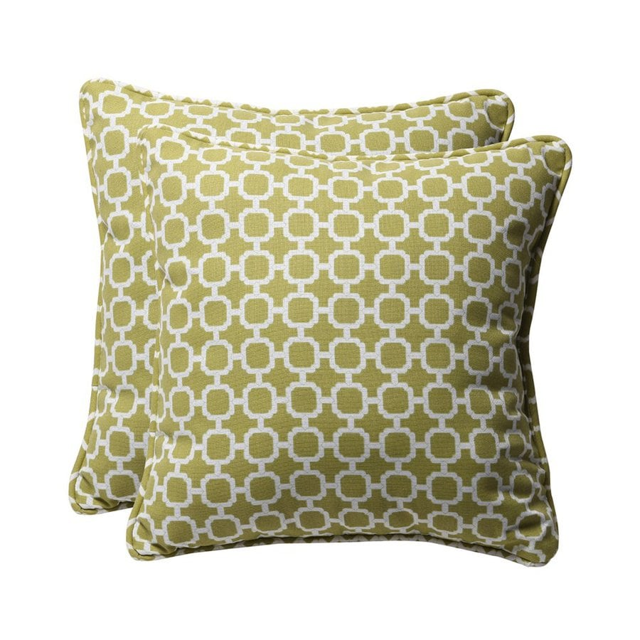 Shop Pillow Perfect Hockley 2-Pack Green Geometric Square Outdoor Decorative Pillow at Lowes.com