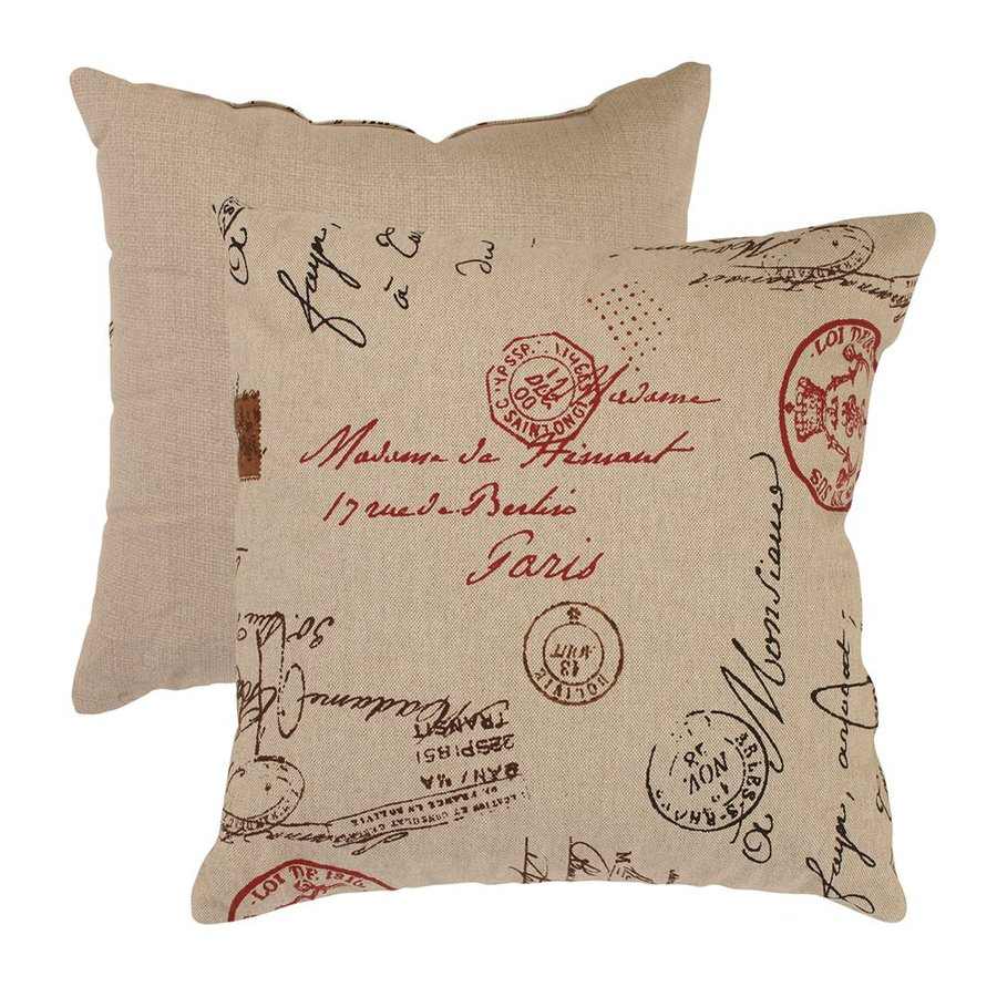 Pillow Perfect 18-in W x 18-in L Linen/Red Square Indoor Decorative Complete Pillow