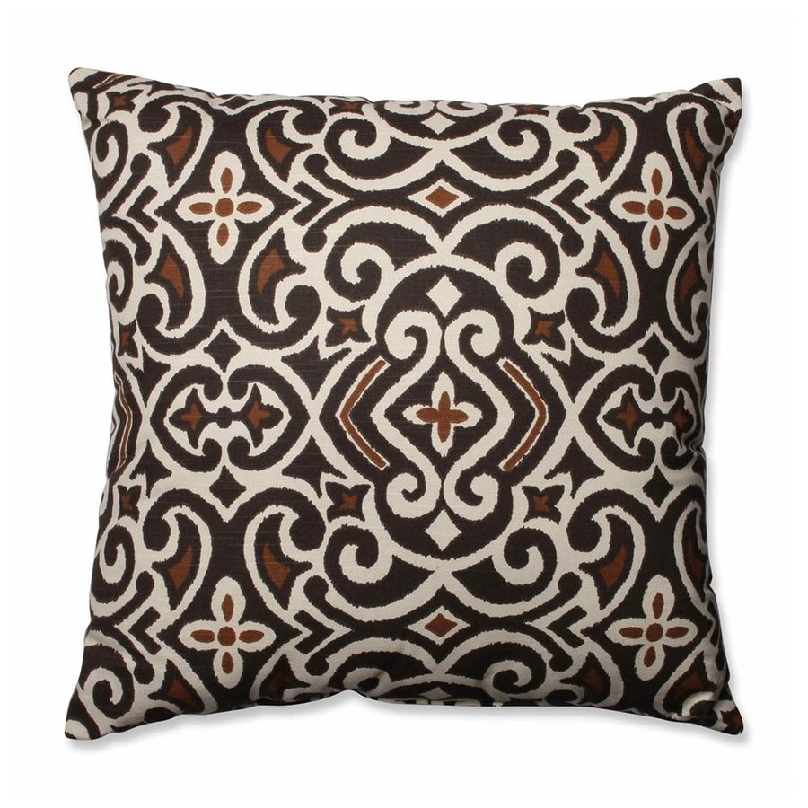 Pillow Perfect Damask 1-Piece 23-in W x 23-in L Brown/Beige Square Indoor Decorative Pillow