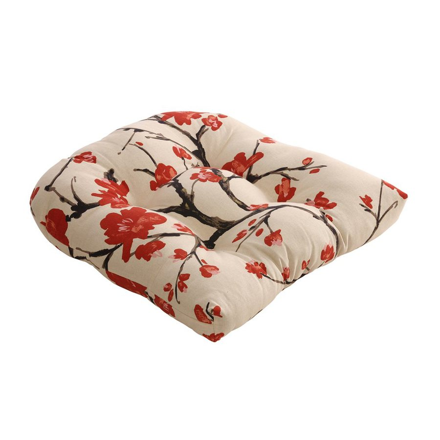Pillow Perfect Floral Beige/Red Universal Seat Pad