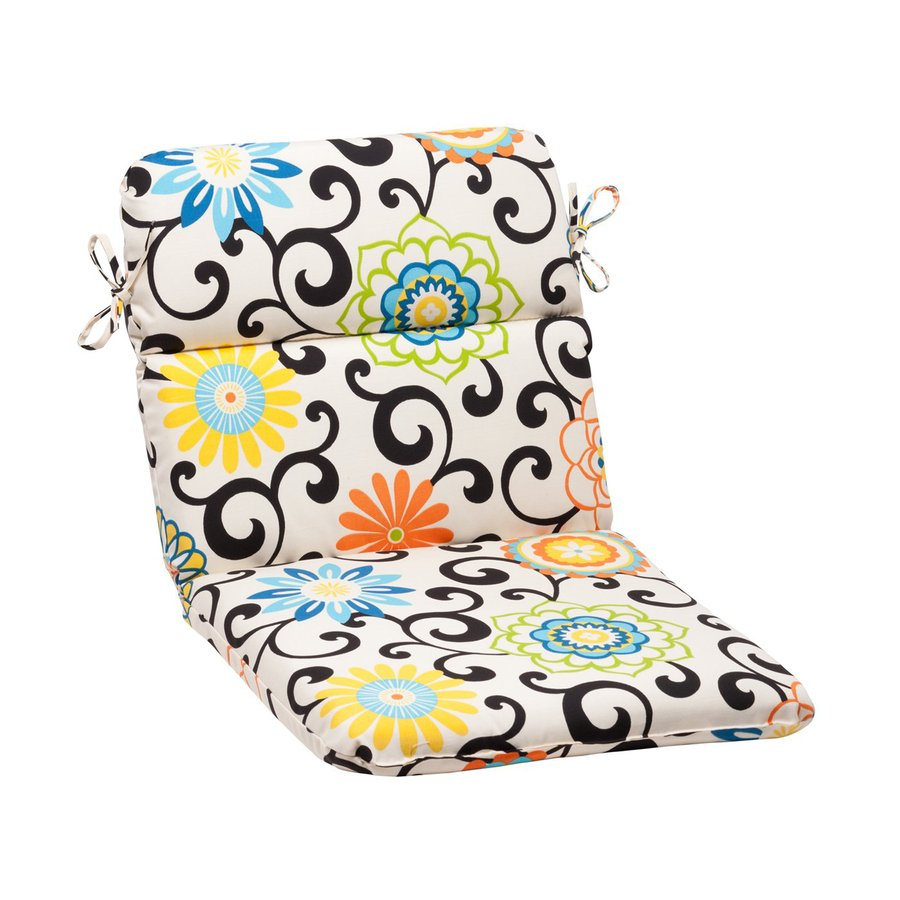 Pillow Perfect Pom Play Multicolored Floral Standard Patio Chair Cushion