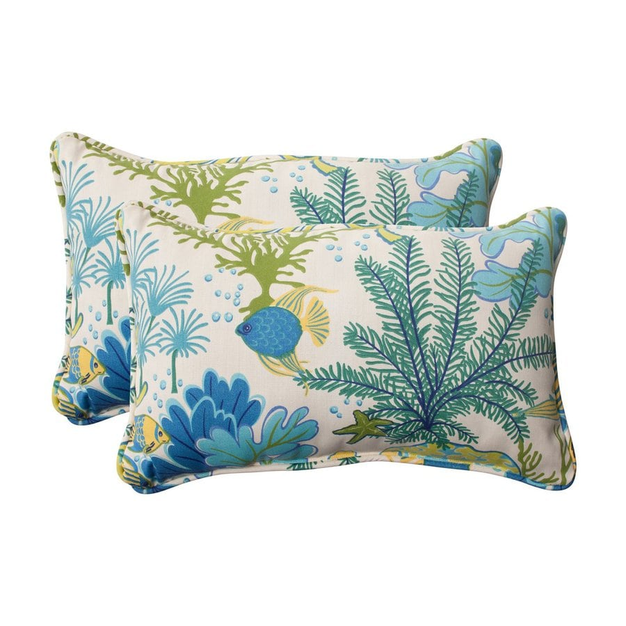 Pillow Perfect Splish Splash 2-Pack Blue Tropical Rectangular Outdoor Decorative Pillow