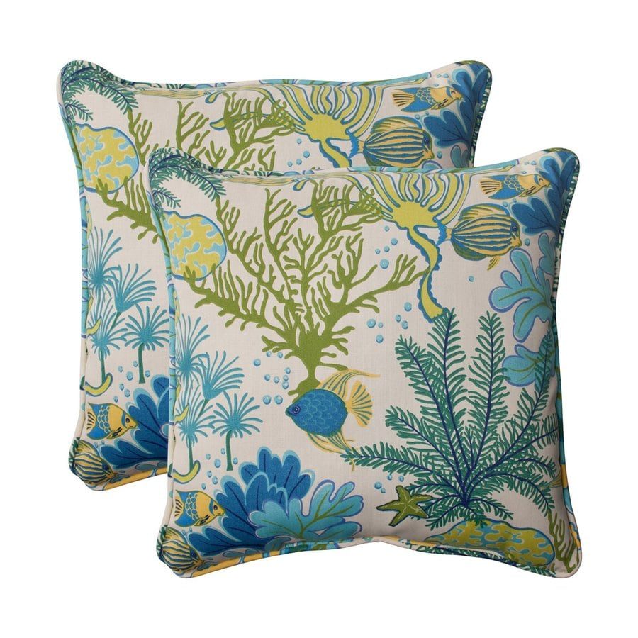Shop Pillow Perfect Splish Splash 2-Pack Blue Tropical Square Outdoor Decorative Pillow at Lowes.com