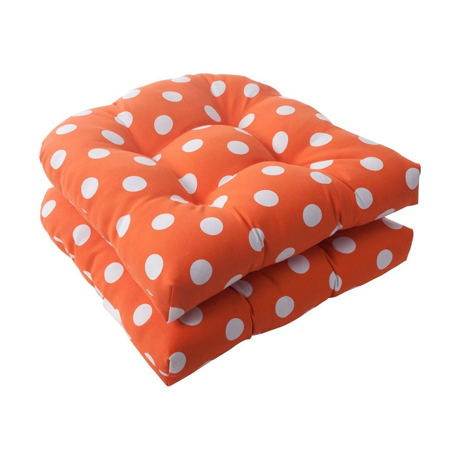 Pillow Perfect Set Of 2 Polka Dot Orange Patio Chair Cushions At