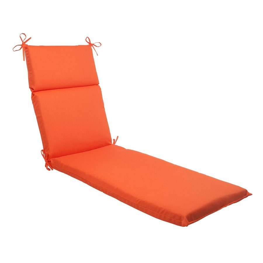 Pillow Perfect Sundeck Orange Solid Standard Patio Chair Cushion for Chaise Lounge