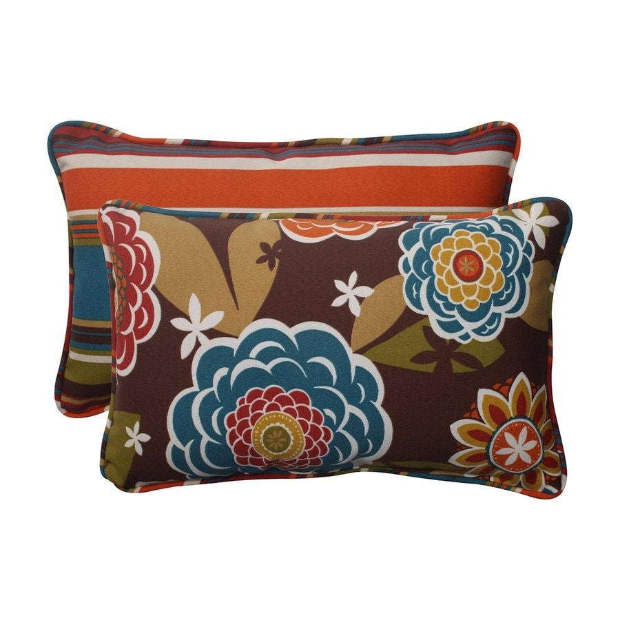 Pillow Perfect Annie Westport 2-Pack Brown/Tan Floral Rectangular Outdoor Decorative Pillow