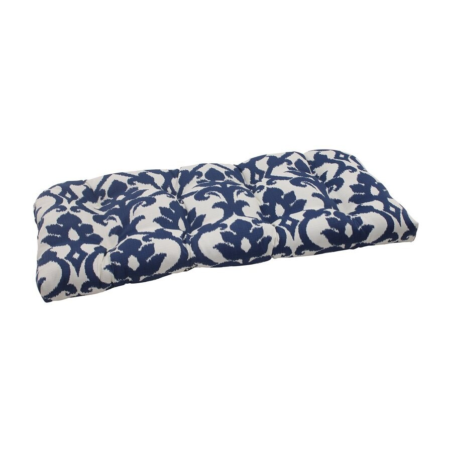 Pillow Perfect Bosco Navy Damask Seat Pad For Loveseat