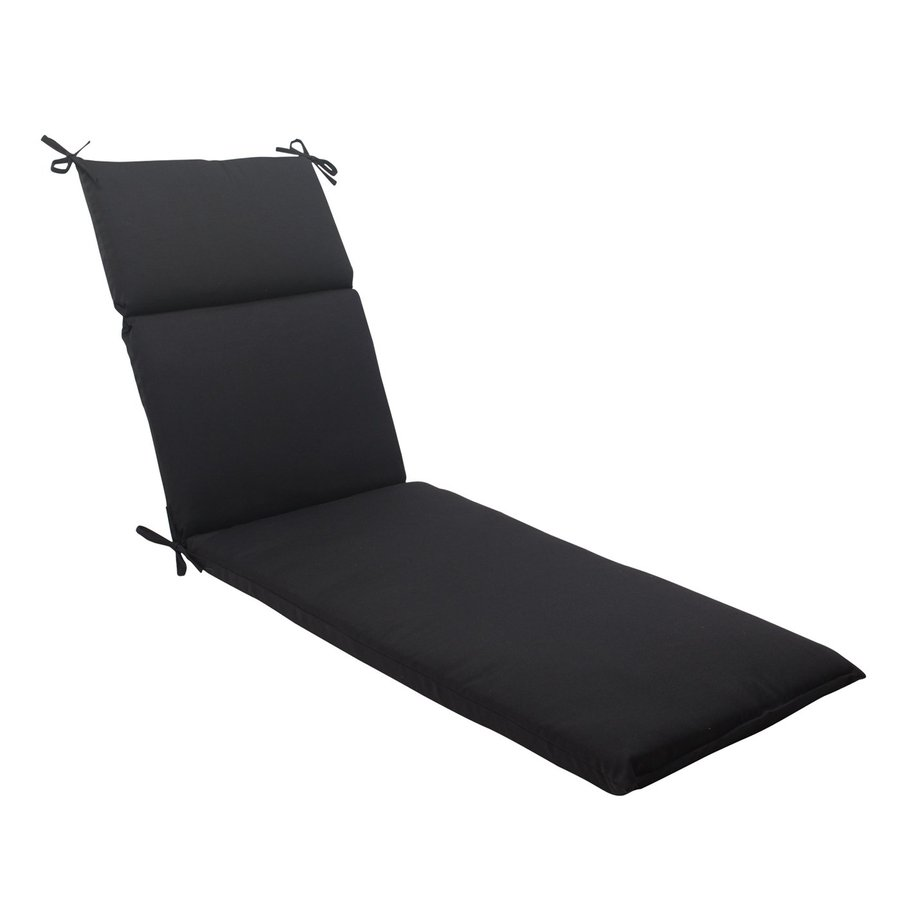 Shop pillow perfect 1 piece black standard patio chair for Black and white chaise lounge cushions