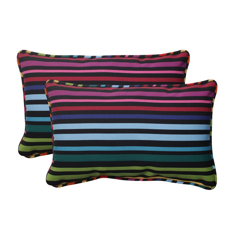Pillow Perfect Godivan 2-Pack Multicolor Stripe Rectangular Outdoor Decorative Pillow