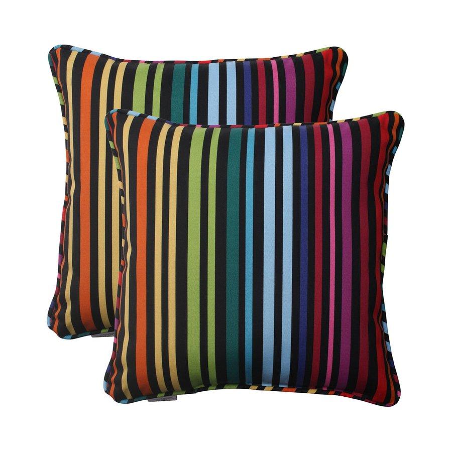 Pillow Perfect Godivan 2-Pack Multicolor Stripe Square Outdoor Decorative Pillow