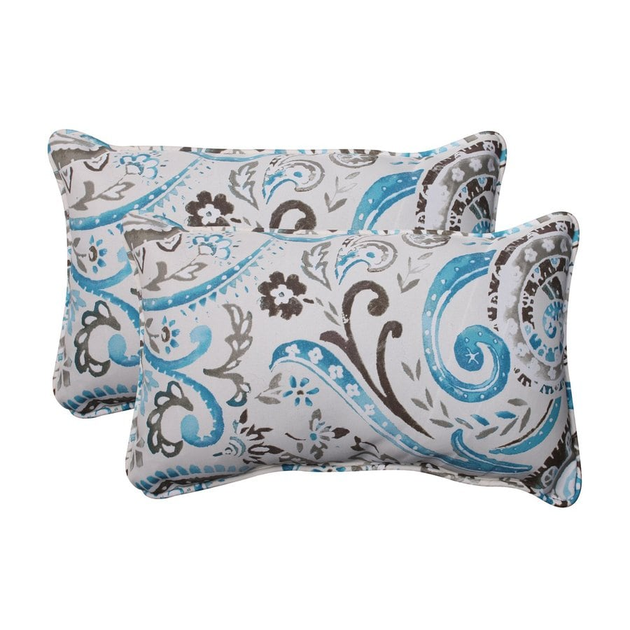 Pillow Perfect Paisley 2-Pack Tidepool Rectangular Outdoor Decorative Pillow