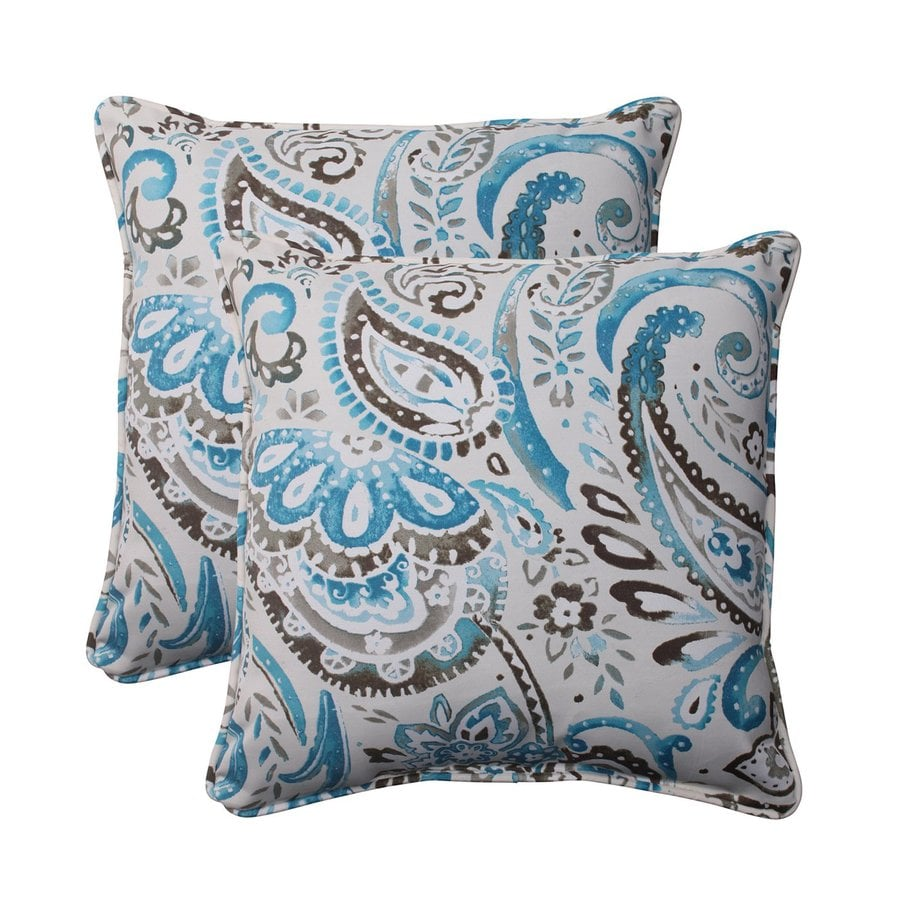 Pillow Perfect Unbranded Paisley Blue Square Throw Pillow