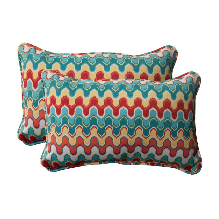 Pillow Perfect Nivala 2-Pack Multicolor Rectangular Outdoor Decorative Pillow
