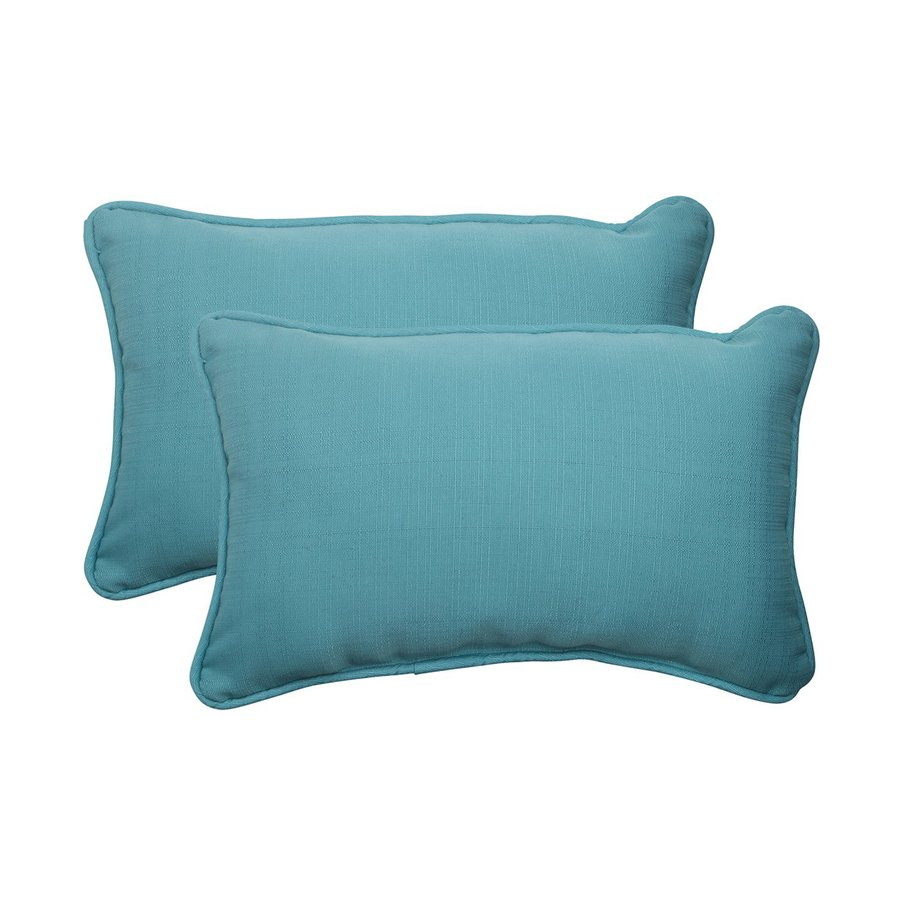 Pillow Perfect Forsyth 2-Pack Turquoise Solid Rectangular Outdoor Decorative Throw Pillow