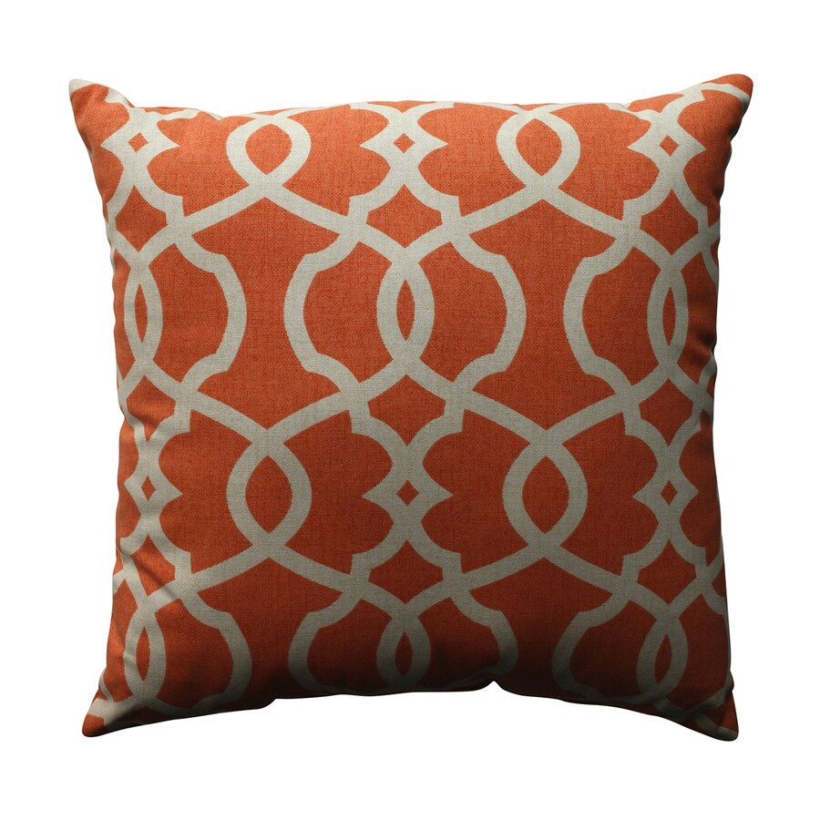 Pillow Perfect 16.5-in W x 16.5-in L Tangerine Indoor Decorative Pillow