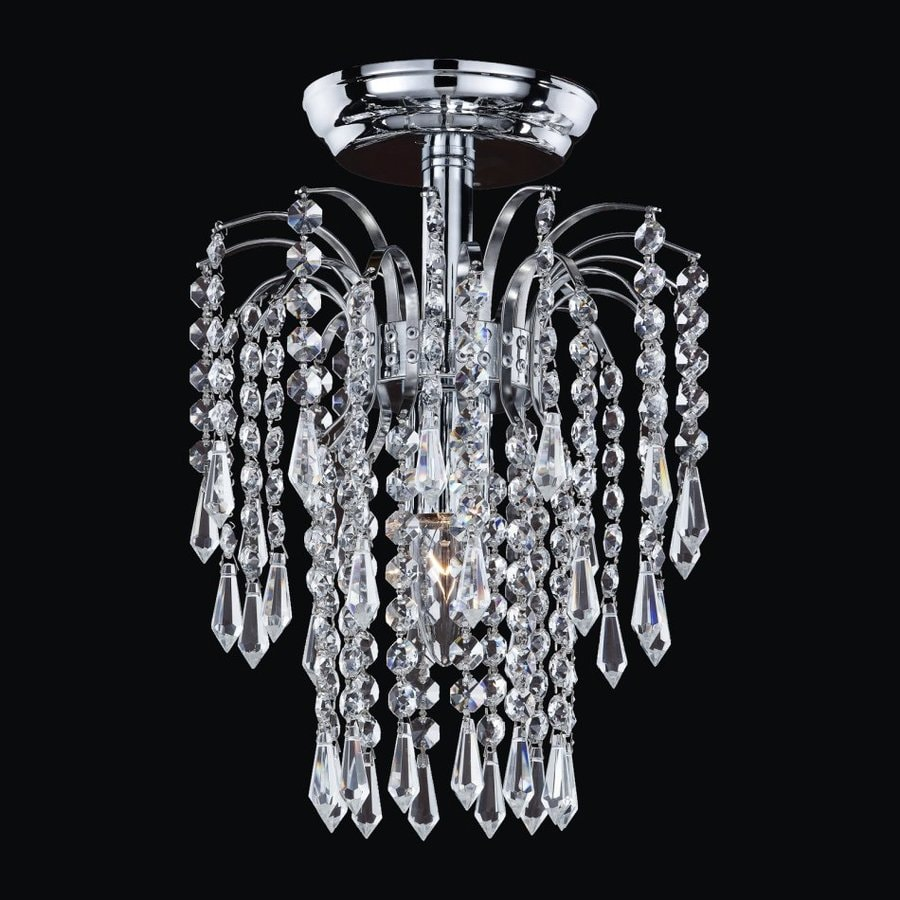 Glow Lighting Cascade 9-in W Silver pearl Crystal Semi-Flush Mount Light