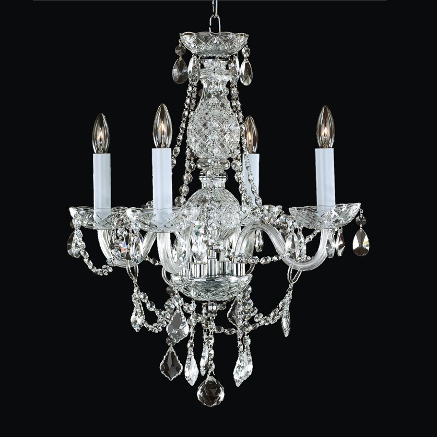 Glow Lighting Crystal Palace 18-in 4-Light Silver Pearl Crystal Clear Glass Candle Chandelier