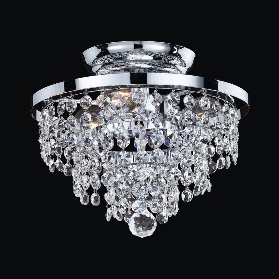 Glow Lighting Vista 10-in W Silver pearl Crystal Semi-Flush Mount Light