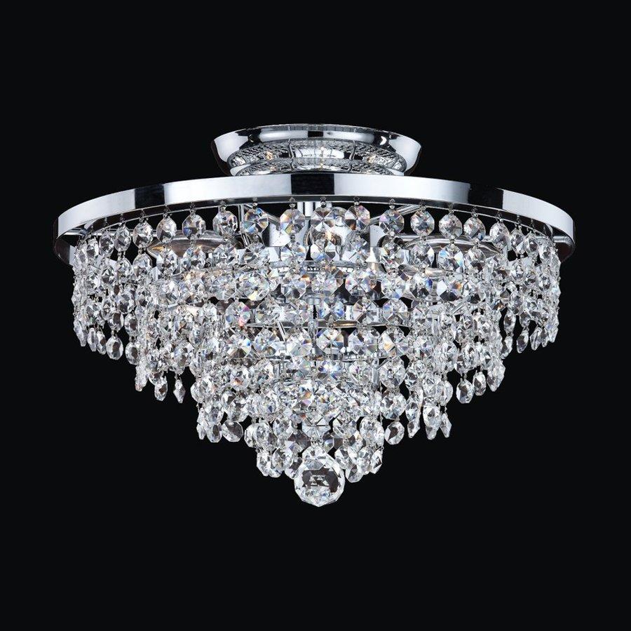 Glow Lighting Vista 13-in W Silver pearl Crystal Semi-Flush Mount Light
