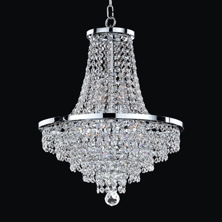 Glow Lighting Vista 16-in 8-Light Silver Pearl Crystal Clear Glass Empire  Chandelier - Shop Glow Lighting Vista 16-in 8-Light Silver Pearl Crystal Clear
