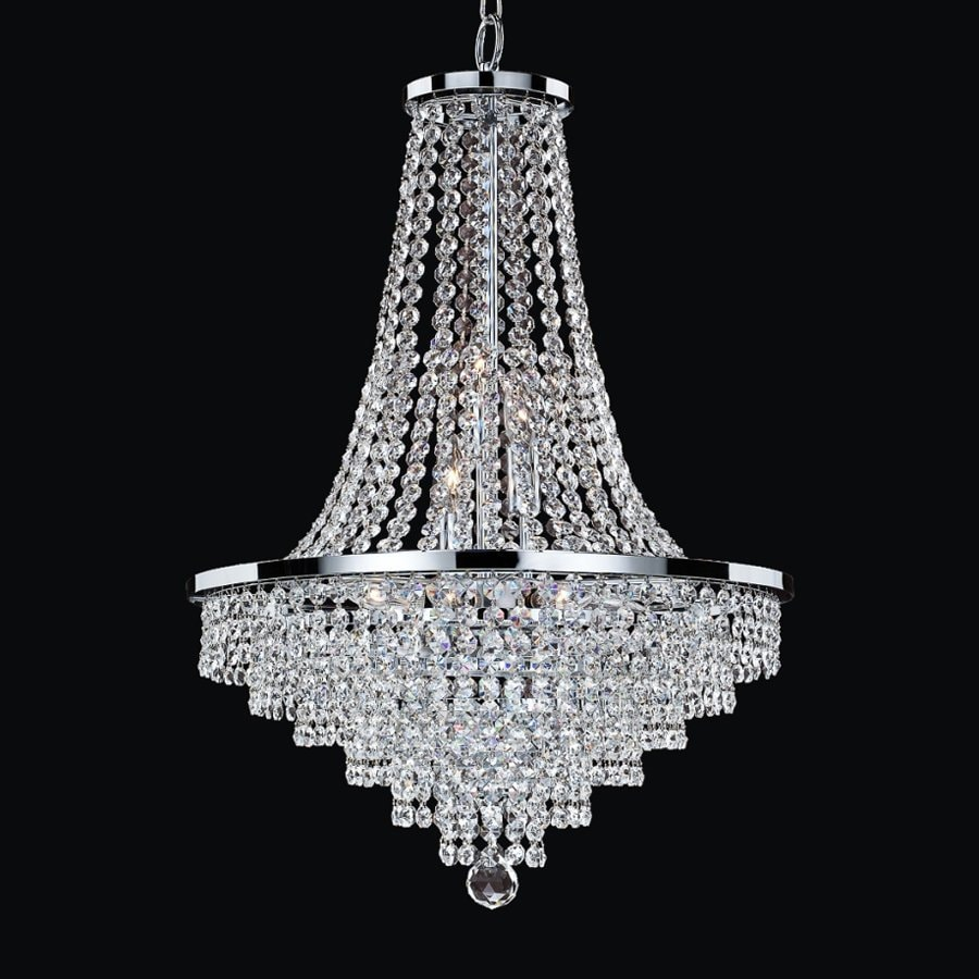 Shop Glow Lighting Vista In Light Silver Pearl Crystal Clear - Chandelier crystals lowes