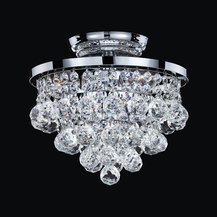 Glow Lighting Vista 10-in W Silver Pearl Crystal-Style Semi-Flush Mount Light