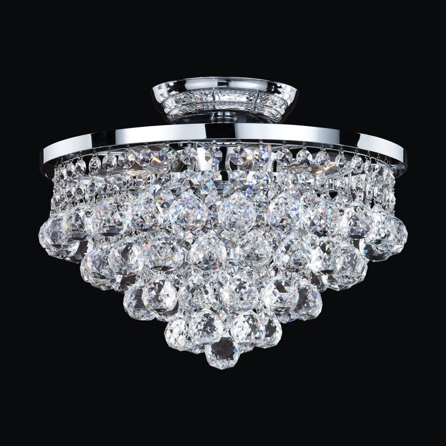 Glow Lighting Vista 13-in W Silver Pearl Crystal-Style Semi-Flush Mount Light