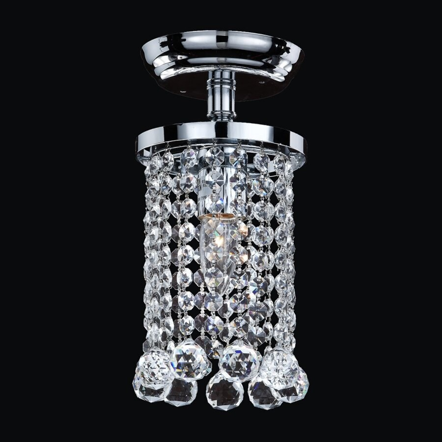 Glow Lighting Omni 5.5-in W Silver Pearl Crystal-Style Semi-Flush Mount Light