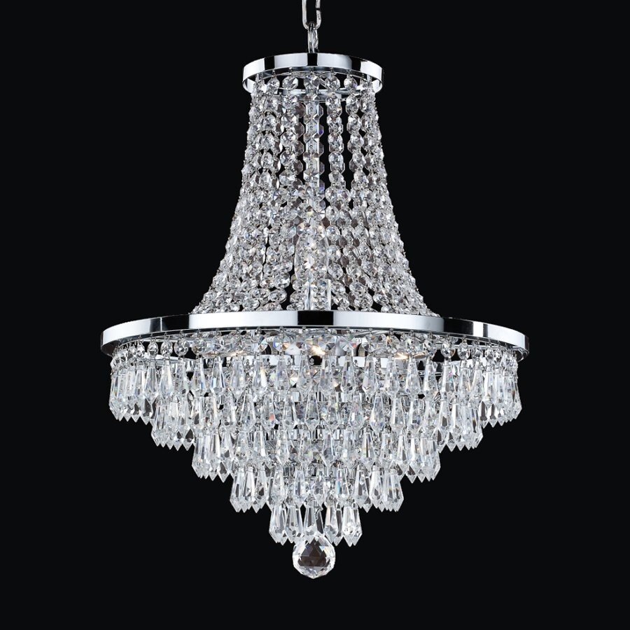 Glow Lighting Vista 16-in 8-Light Silver Pearl Crystal Clear Glass Empire Chandelier