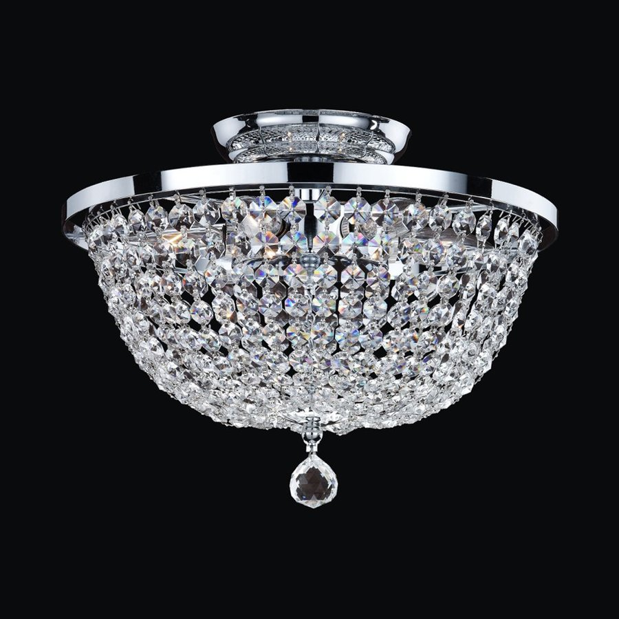 Glow Lighting Synergy 13-in W Silver Pearl Crystal-Style Semi-Flush Mount Light