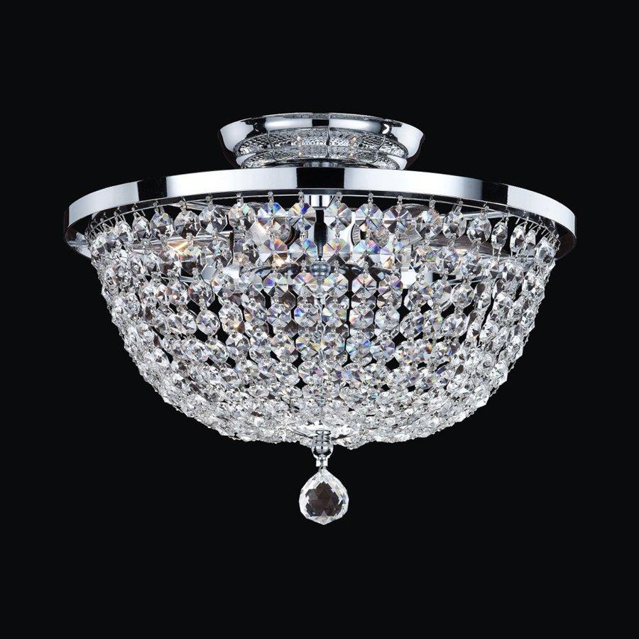Glow Lighting Synergy 13-in W Silver pearl Crystal Semi-Flush Mount Light