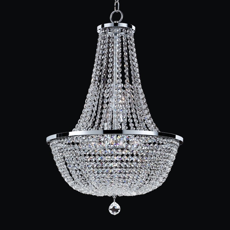 Glow Lighting Synergy 19-in 9-Light Silver Pearl Crystal Clear Glass Empire Chandelier