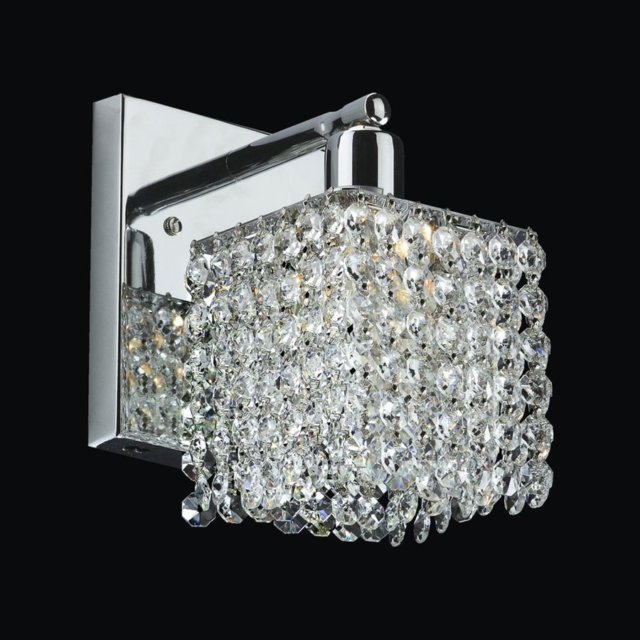 Glow Lighting Fuzion 5-in W 1-Light Silver pearl Crystal Arm Wall Sconce