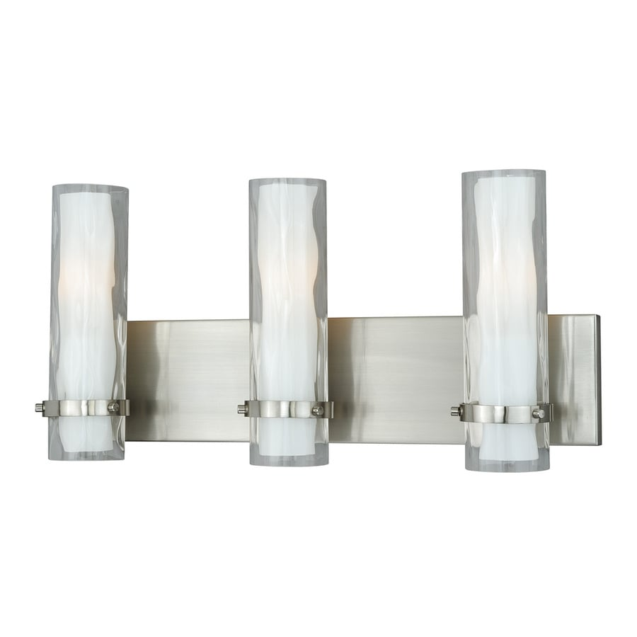Vanity Light No Stud : Shop Cascadia Vilo 3-Light 9.75-in Satin Nickel Cylinder Vanity Light at Lowes.com