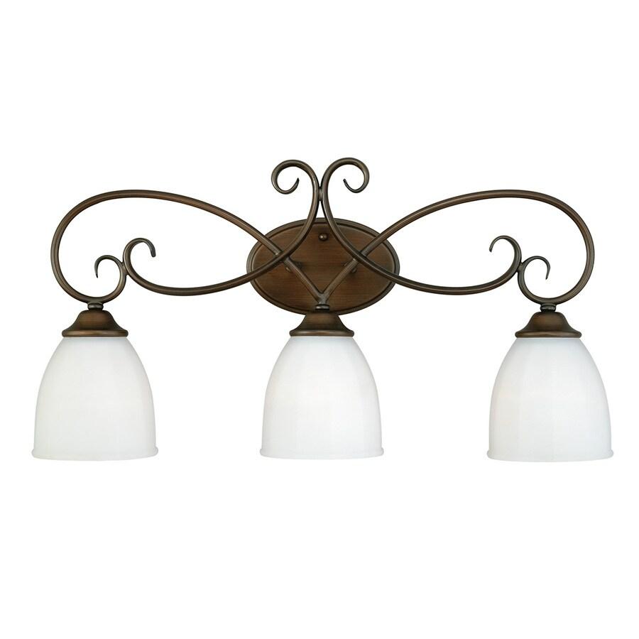 Cascadia Claret 3-Light 12.75-in Venetian Bronze Bell Vanity Light