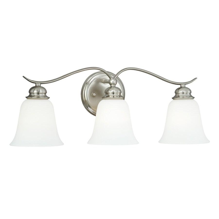 Cascadia Darby 3-Light 9-in Satin Nickel Bell Vanity Light