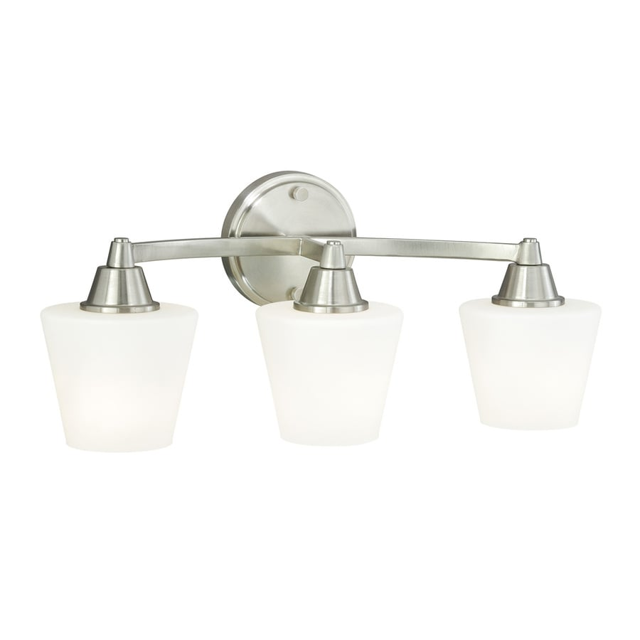 Cascadia Calais 3-Light 9-in Satin Nickel Cone Vanity Light