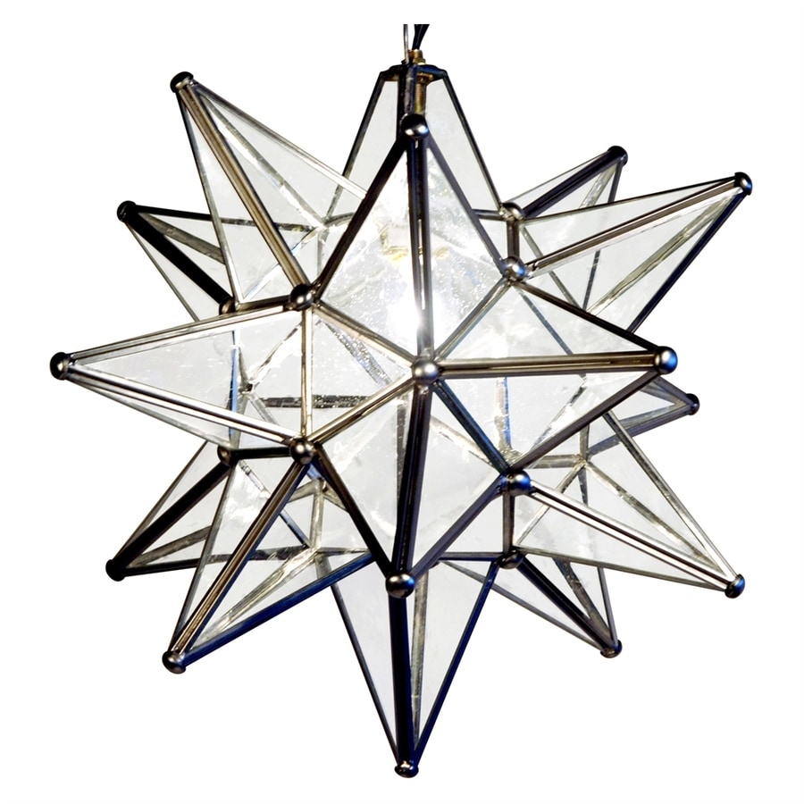 Quintana Roo Moravian Star 10-in Silver Electrical Outlet Single Seeded Glass Star Pendant