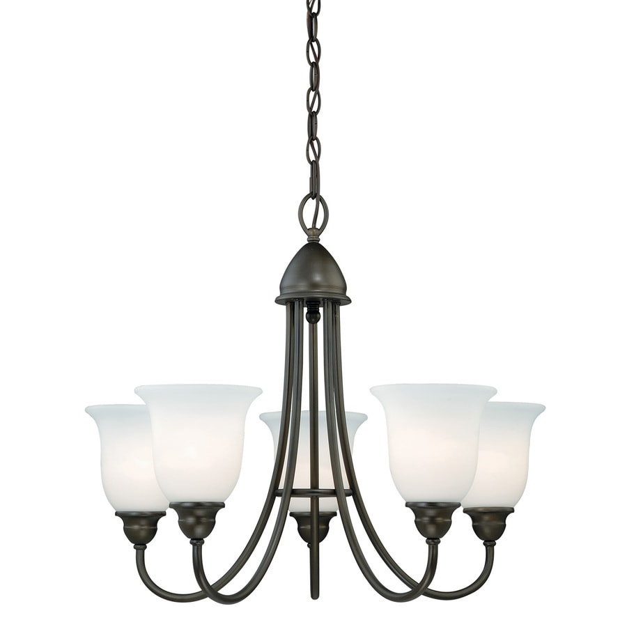 Cascadia Concord 25-in 5-Light Oil Rubbed Bronze Wrought Iron Shaded Chandelier
