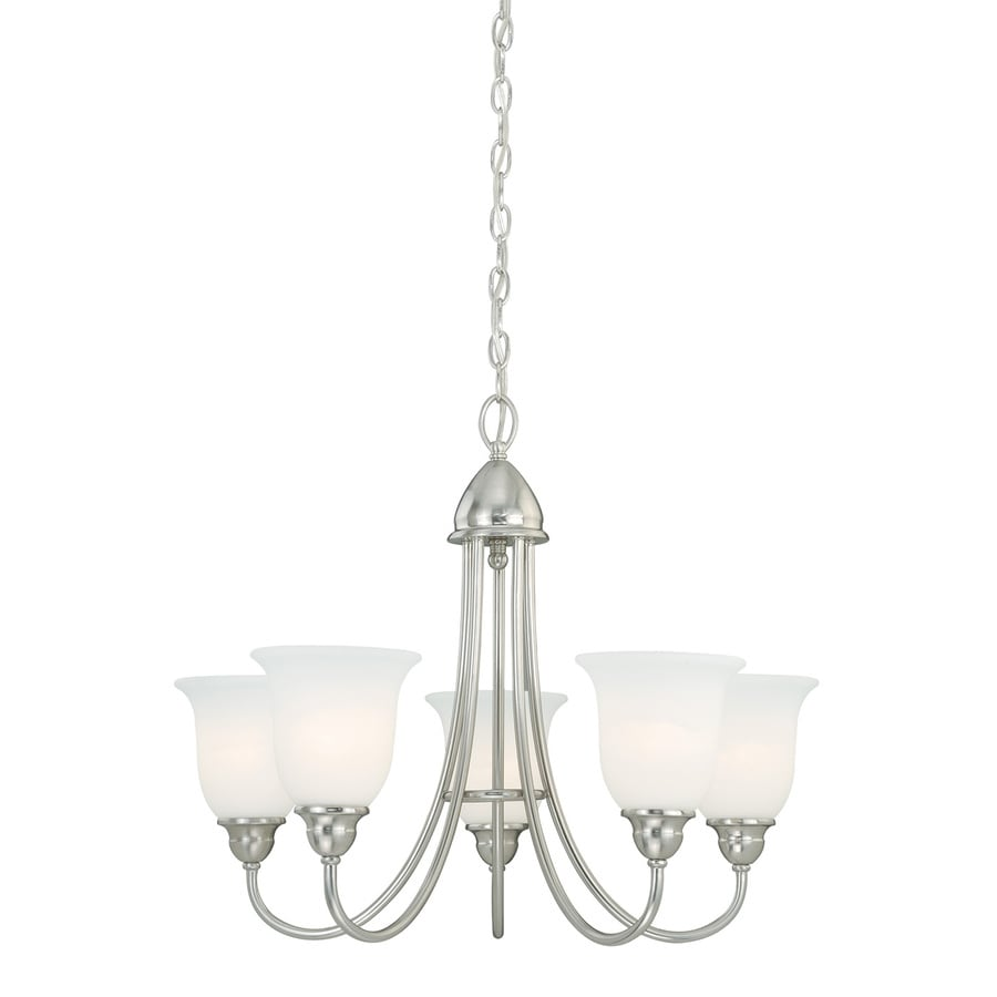 Cascadia Concord 25-in 5-Light Satin Nickel Shaded Chandelier