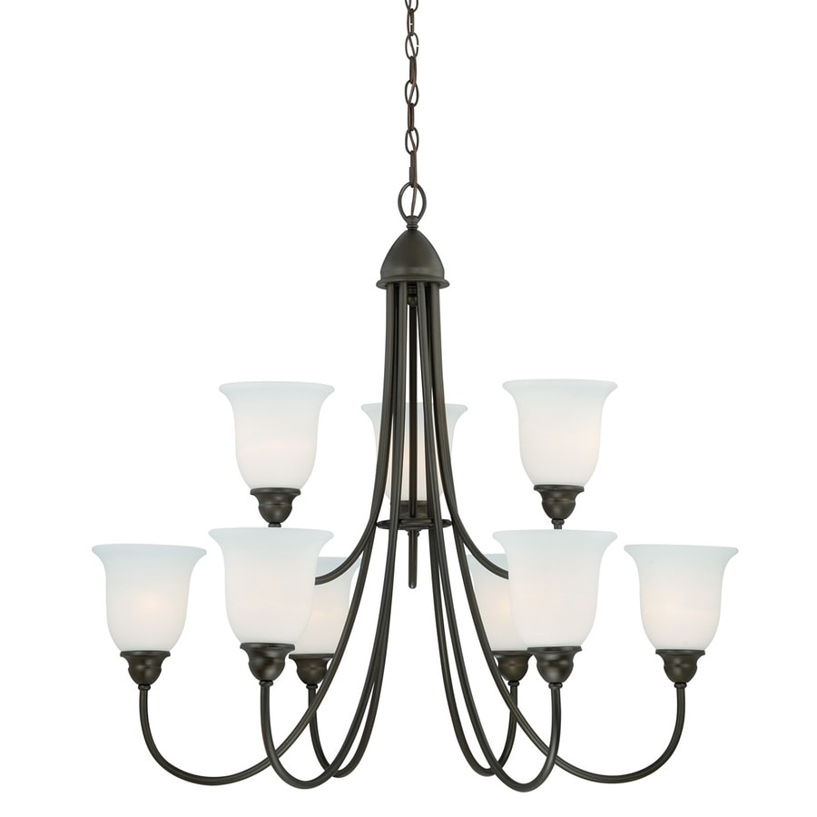 Cascadia Concord 34-in 9-Light Oil Rubbed Bronze Wrought Iron Shaded Chandelier