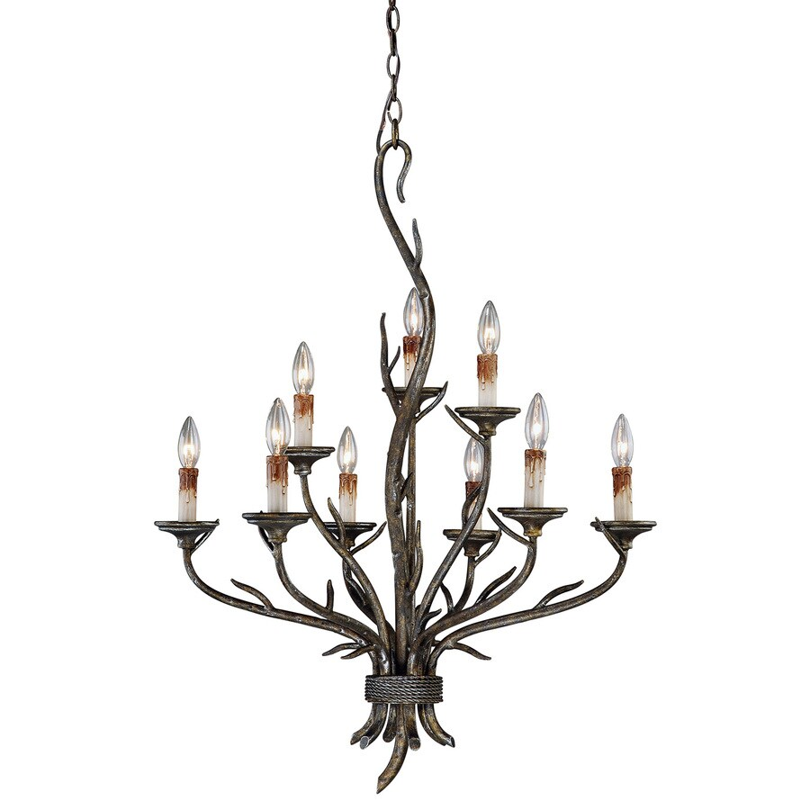 Cascadia Monterey 28-in 9-Light Autumn Patina Rustic Candle Chandelier