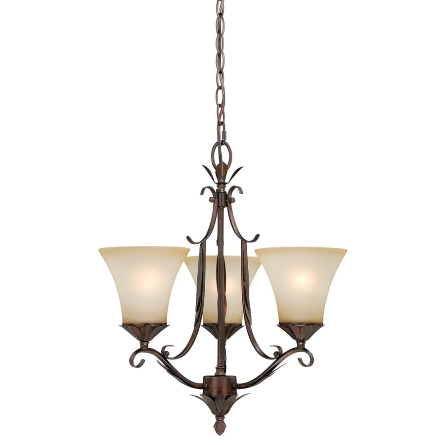 Cascadia Coricelli 18.25-in 3-Light Royal bronze Rustic Tinted Glass Shaded Chandelier