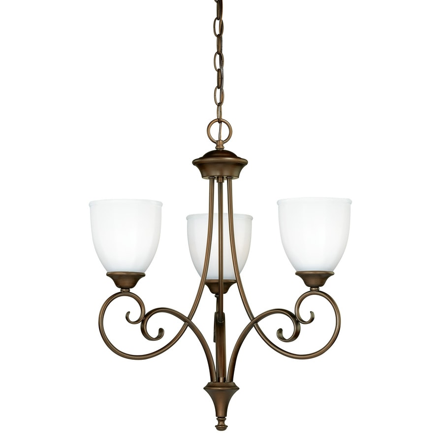 Cascadia Claret 20.5-in 3-Light Venetian Bronze Shaded Chandelier