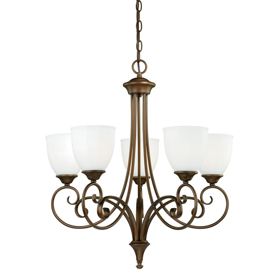 Venetian Bronze Chandelier: Cascadia Claret 5-Light Venetian Bronze Traditional Shaded